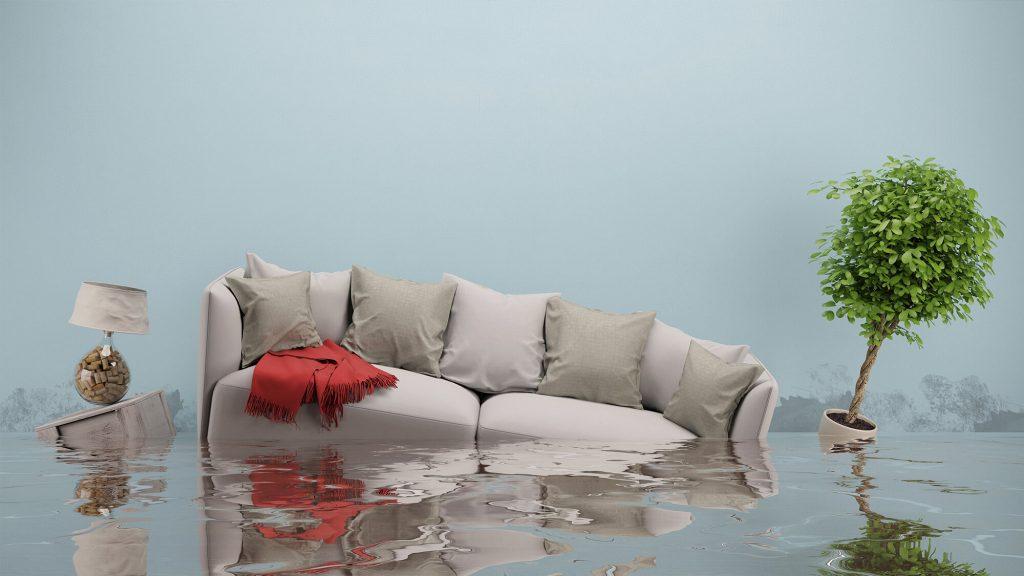 Meubles d'une habitation sous eau.