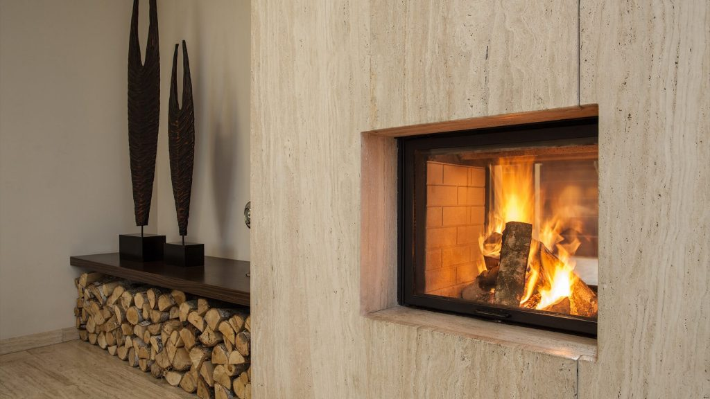 hearth with a wood fire