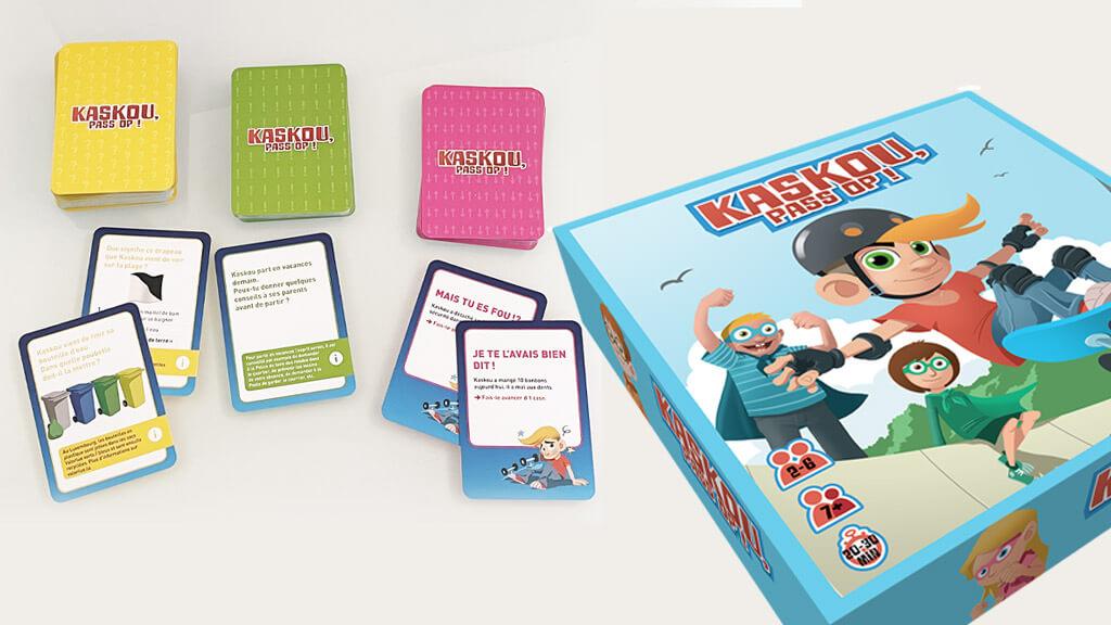 Boite de jeu de sociétés Kaskou pass op ! avec quelques cartes à jouer