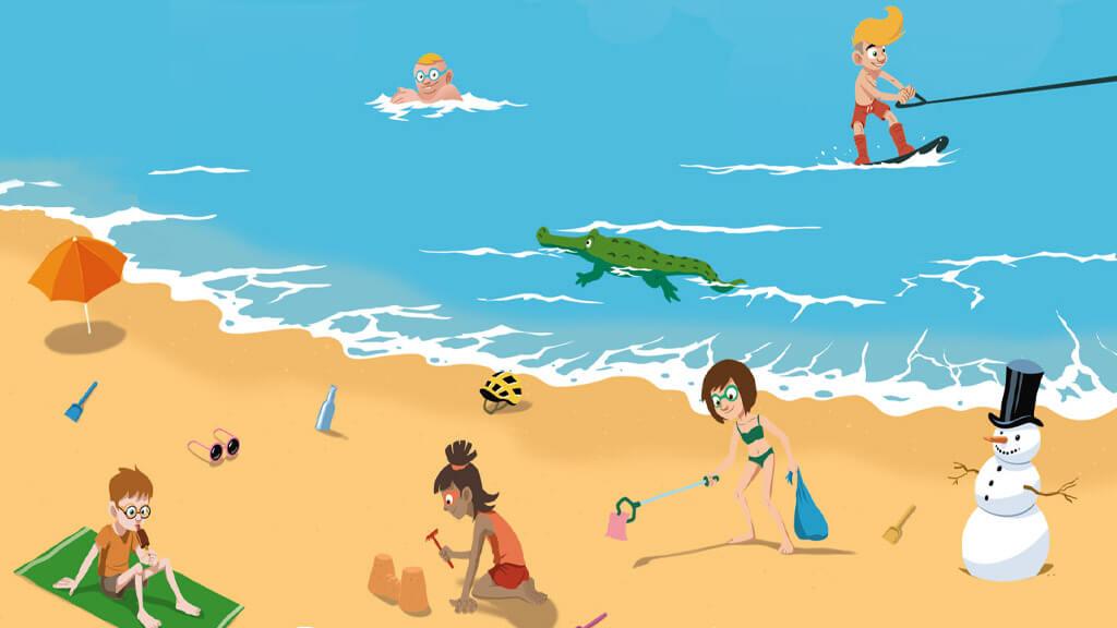 Illustration représentant Kaskou et ses amis à la plage